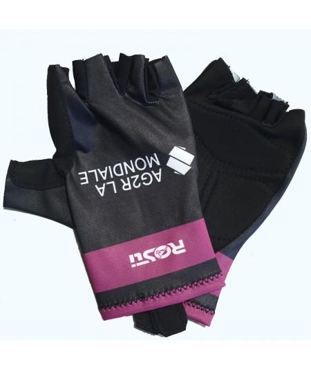 Gants violet et noir AG2R-La-Mondiale