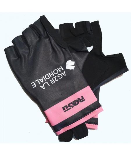 Gants rose et noir AG2R-La-Mondiale