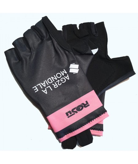 Guantes rosa y negro AG2R-La-Mondiale