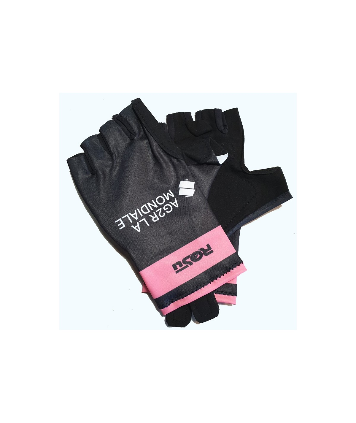 Pink and black gloves AG2R-La-Mondiale