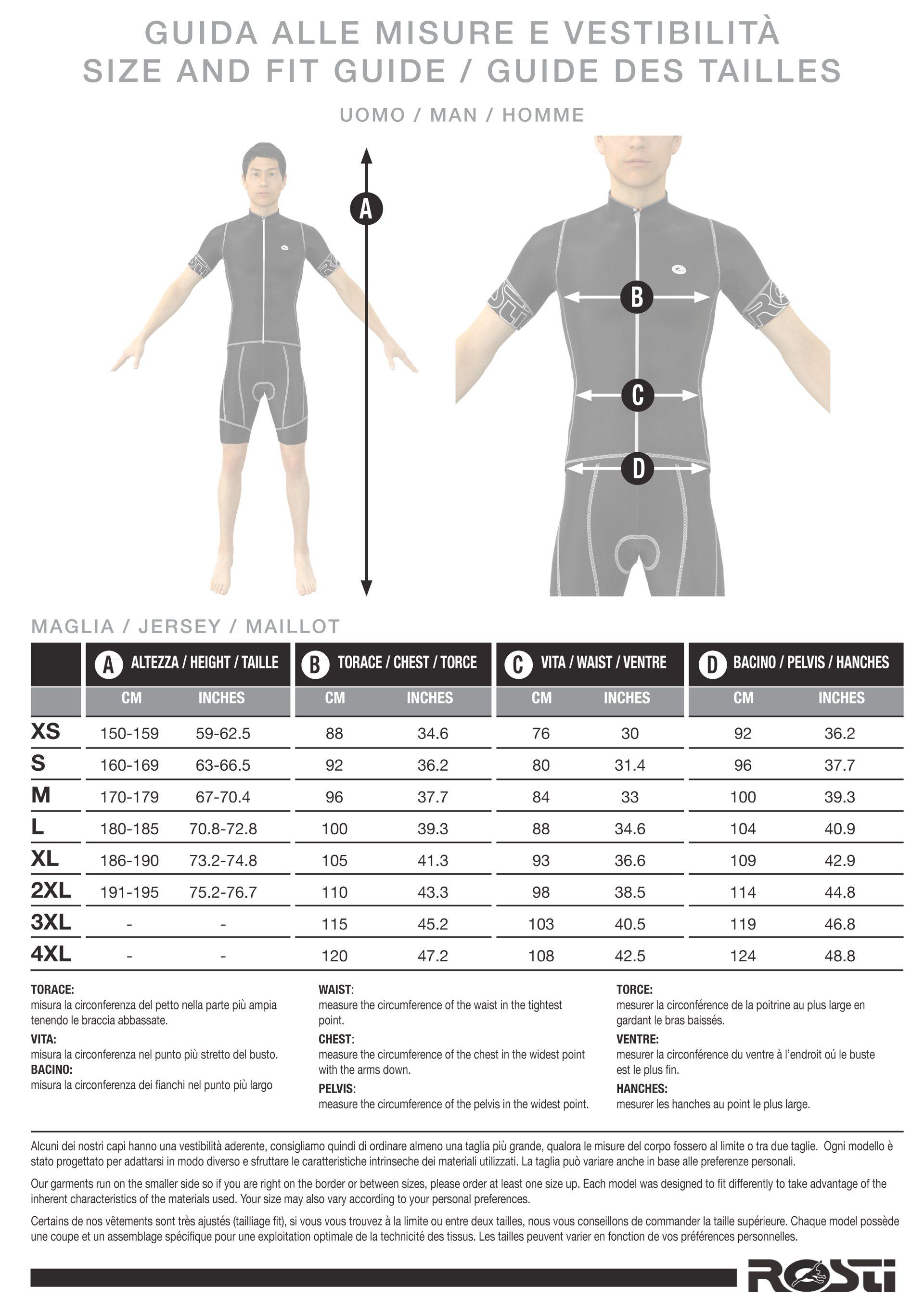Guide des tailles maillots pour homme